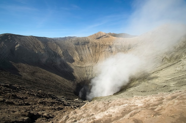Bromo is an active volcano in indonesia smoke emanates from the volcano bromo tengger semeru national parkjava island indonesia