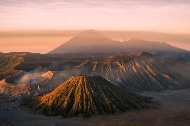 Bromo volcano. sunrise at semeru volcano national park java island indonesia