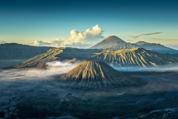 Bromo volcano at sunrise,tengger semeru national park, east java, indonesia
