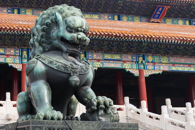 Bronze lion in front of the hall of supreme harmony in beijing forbidden city