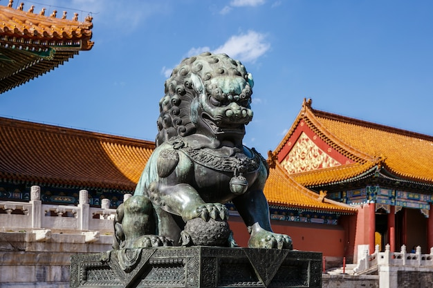 Bronze lion at the palace museum in the forbidden city, china