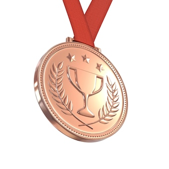 Bronze medal on red ribbon, isolated on white