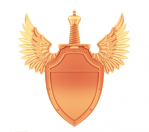 Bronze metal shield with wings and sword, 3d rendering