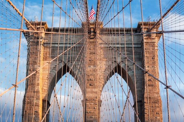 Ponte di brooklyn, new york city. stati uniti d'america.