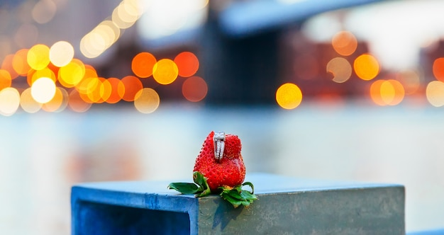 Brooklyn bridge strawberry ring in new york city