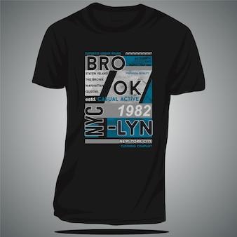 브루클린 평면 그래픽 타이포그래피 벡터 디자인 티셔츠 캐주얼 활성