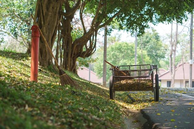 地面に葉を掃除するためのきのことカート