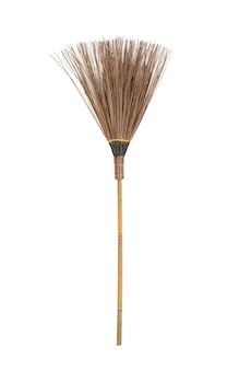 Broom made from coconut stick isolated on white background