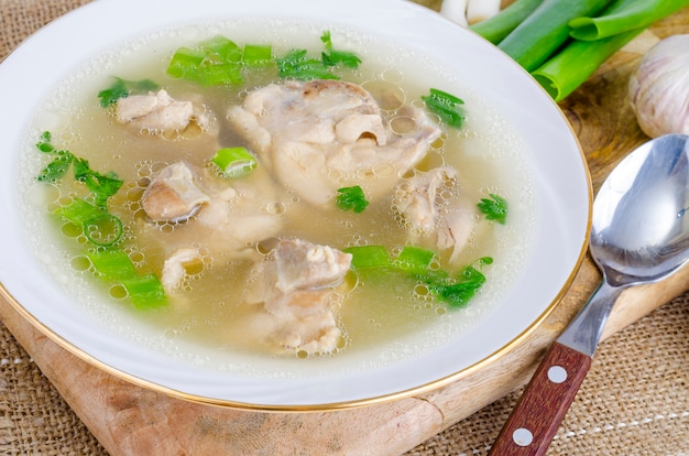 Broth with chicken meat