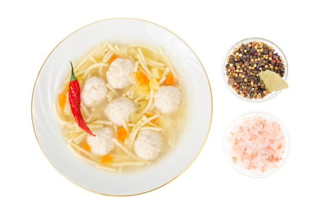 Broth with noodles and meat balls