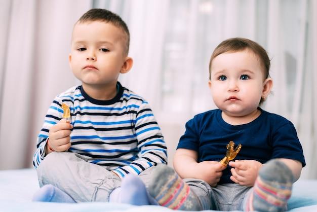 형제와 자매는 매우 귀여운 수탉의 형태로 막대 사탕을 먹는다