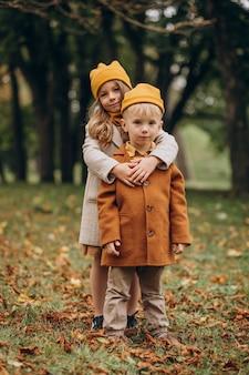 Брат и сестра вместе веселятся в парке