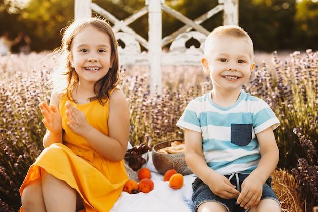 형제와 자매 카메라 미소를보고 라벤더 밭에 앉아.
