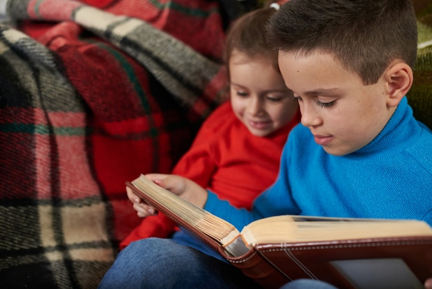 Брат и сестра смотрят семейный фотоальбом, сидя на диване на фоне красной полосатой шерстяной пледа