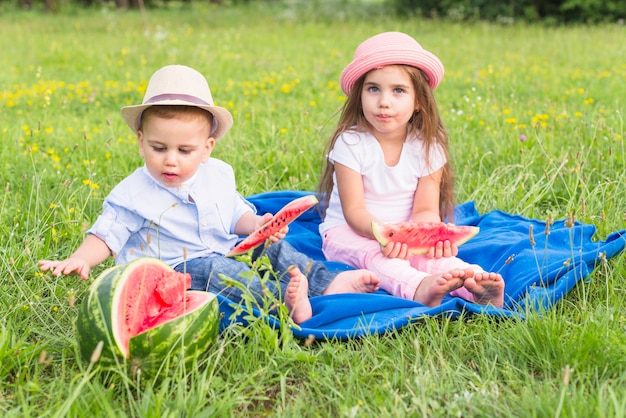 Brother and sister enjoying the watermelon in the park