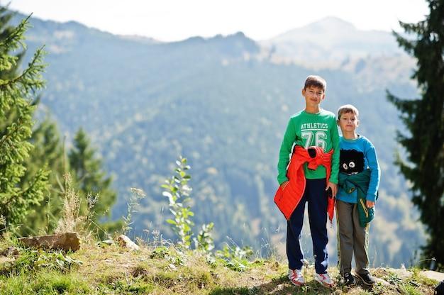 兄弟は山でハイキングし、子供たちは登山道を歩いていて、子供たちと一緒に野外活動をし、兄弟、彼の兄弟と一緒に男の子が旅行しています。