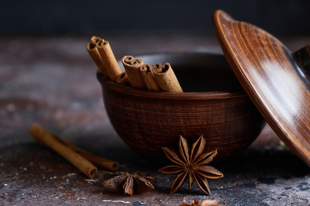 Broun bowl with mulled wine flavoring: cinnamon, star anise