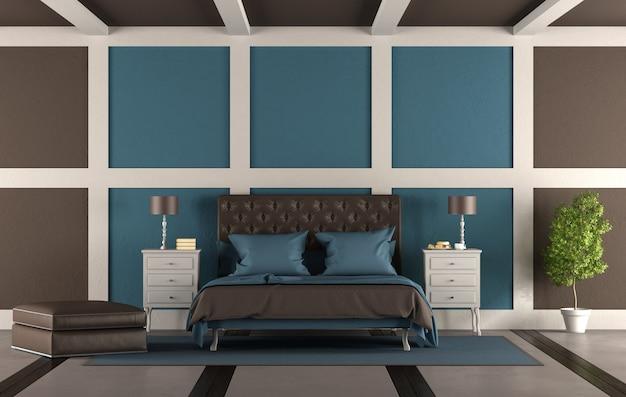 브라운과 블루 마스터 침실
