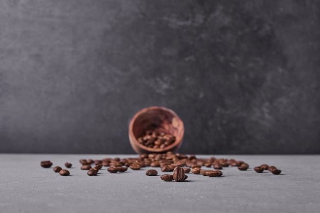 Brown arabica beans on grey background.