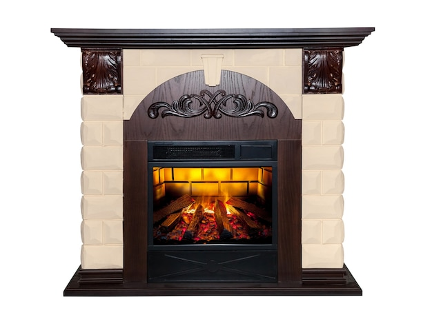 Brown artificial fireplace isolated on white