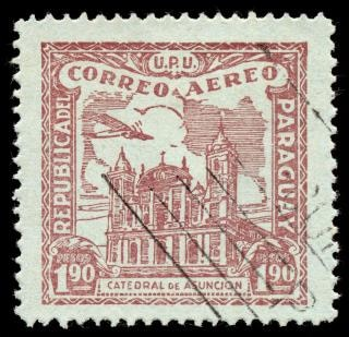 Brown asuncion cathedral airmail stamp