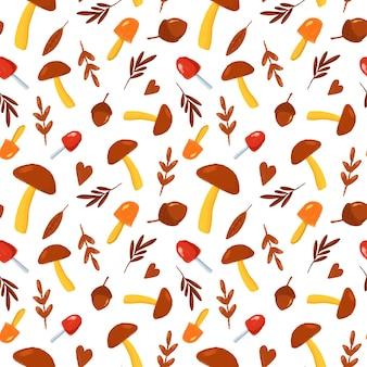 茶色の紅葉とキノコのシームレスなパターン漫画風のキノコのプリントで手描き