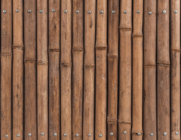 Brown background of bamboo stems, wooden fence.