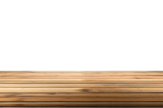 Brown bamboo wood table top on white background. montage product display