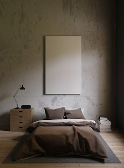 Brown bed in a dark bedroom with concrete walls