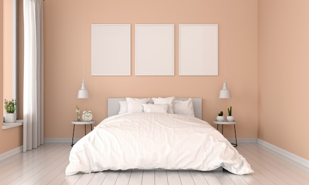 Brown bedroom interior and three empty photo frame for mockup