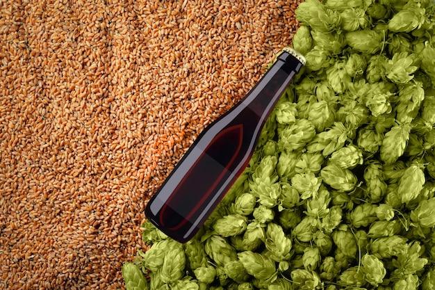 밀 곡물 및 홉 배경에 대각선 배치 bottlle와 갈색 맥주 모형. 유리에 반투명 라벨이 있습니다. 디자인을위한 준비 템플릿입니다.