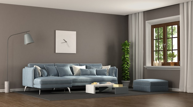 Brown and blu elegant living room