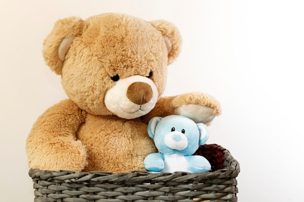 Brown and blue teddy bears in a basket.