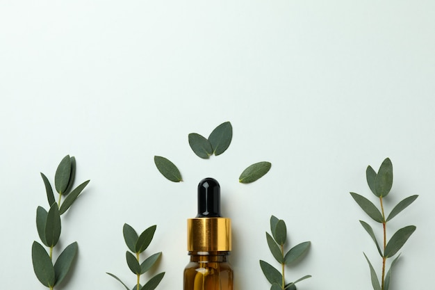 Brown bottle of eucalyptus oil and twigs on white background