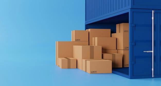 갈색 상자 스태킹 및 복사 공간이 있는 컨테이너 상자. 물류 및 운송 비즈니스 서비스. 3d 그림