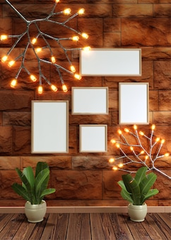 Brown brick wall background decorated with branch firefly