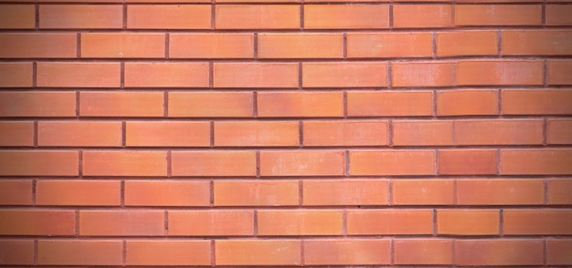 Brown brick wall, clean smooth blank surface, long picture as background