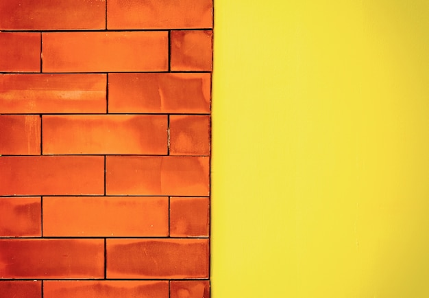 Brown brick wall light middle and yellow blocks for background