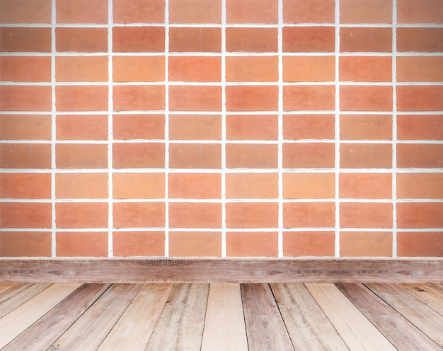 Brown brick wall and wooden floor tiles