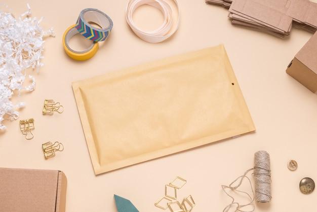 Brown bubble envelope on color desk