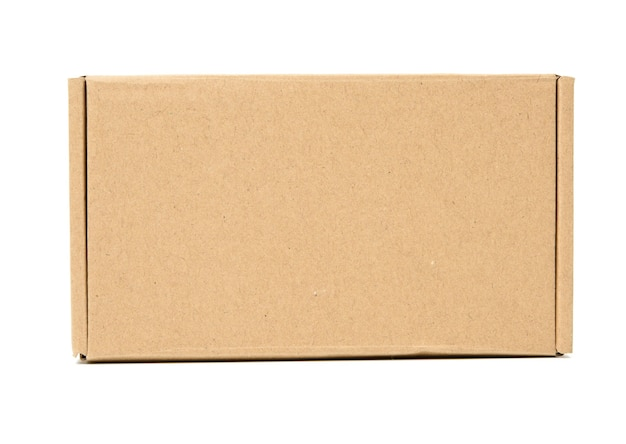Brown cardboard box isolated on white surface, close up