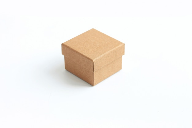 Brown cardboard box packaging blank template in isolated on white.