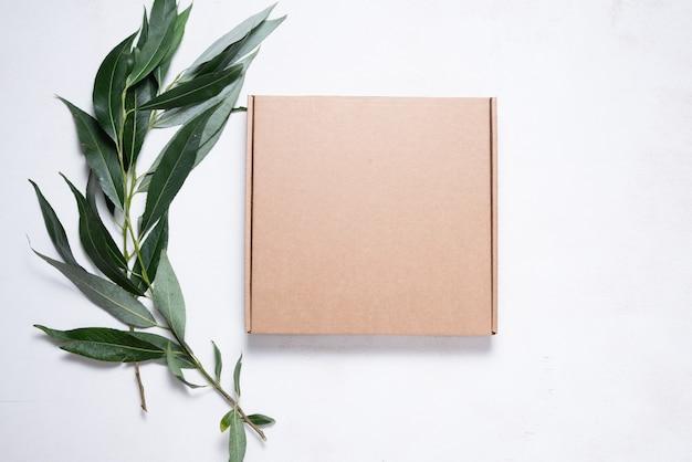 나무 브러시가 있는 갈색 판지 상자
