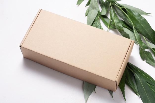 新鮮な木の枝の生態学的パッケージと茶色の段ボール箱