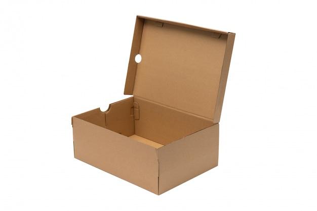 Коричневая картонная коробка для обуви с крышкой для обуви или кроссовок