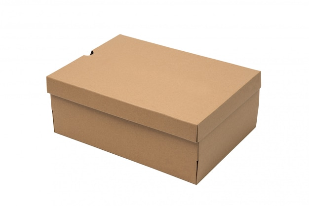 Brown cardboard shoes box with lid for shoe or sneaker product packaging mockup