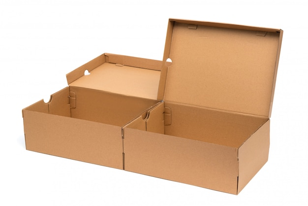Brown cardboard shoes box with lid for shoe or sneaker product packaging