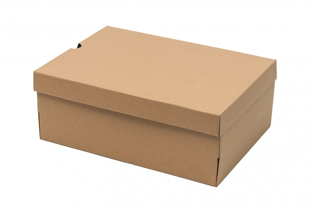 Brown cardboard shoes box with lid for shoe or sneaker product