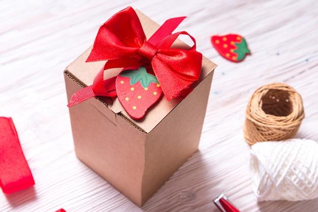 Brown carton gift box with bowl
