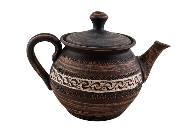 Brown ceramic or red clay teapot isolated